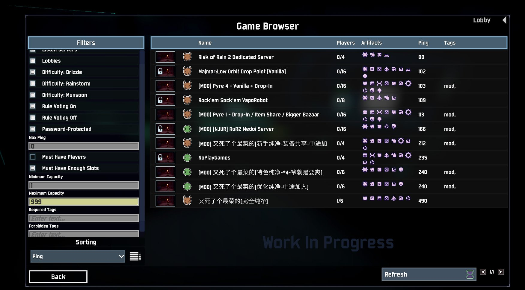 Risk of Rain 2 server browser