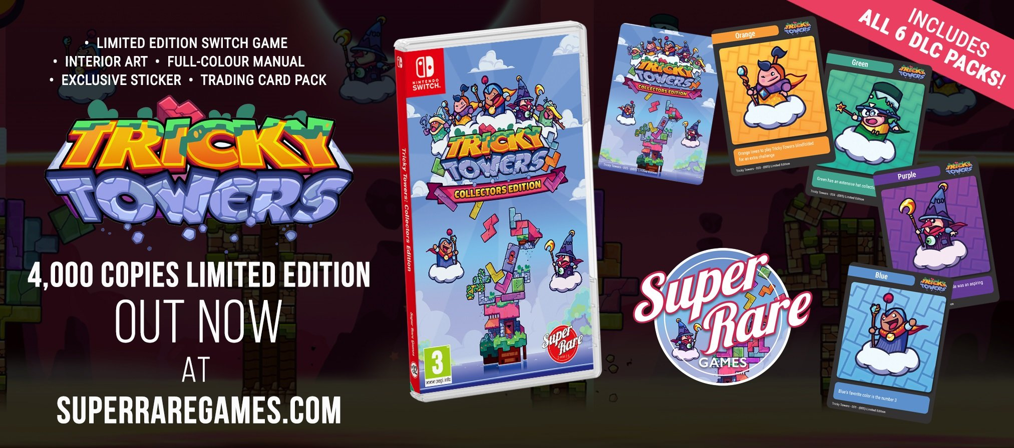 Super Rare Games Tricky Towers Switch limited edition contest