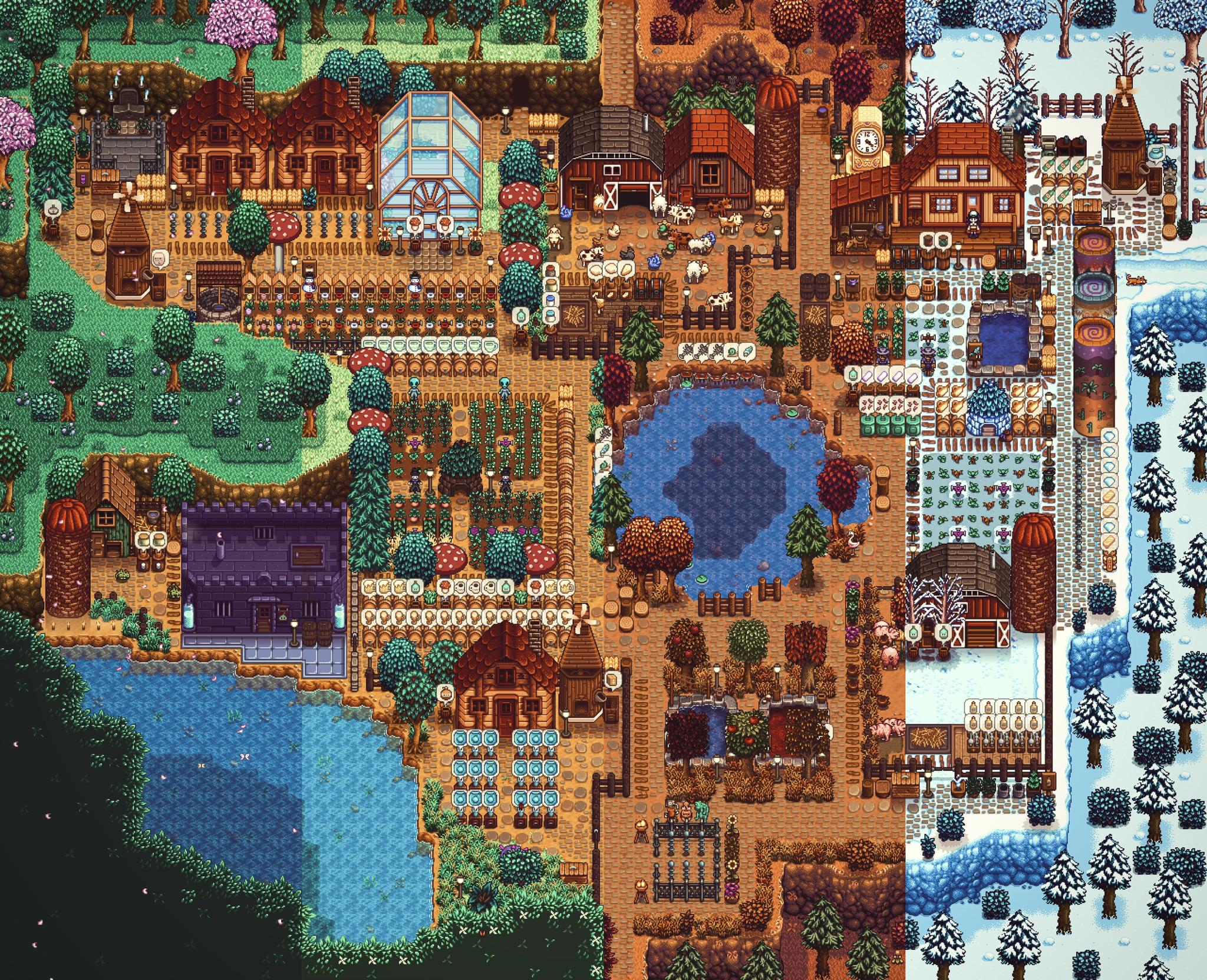 Four seasons in one image shows how beautiful Stardew Valley's pixel art really is screenshot