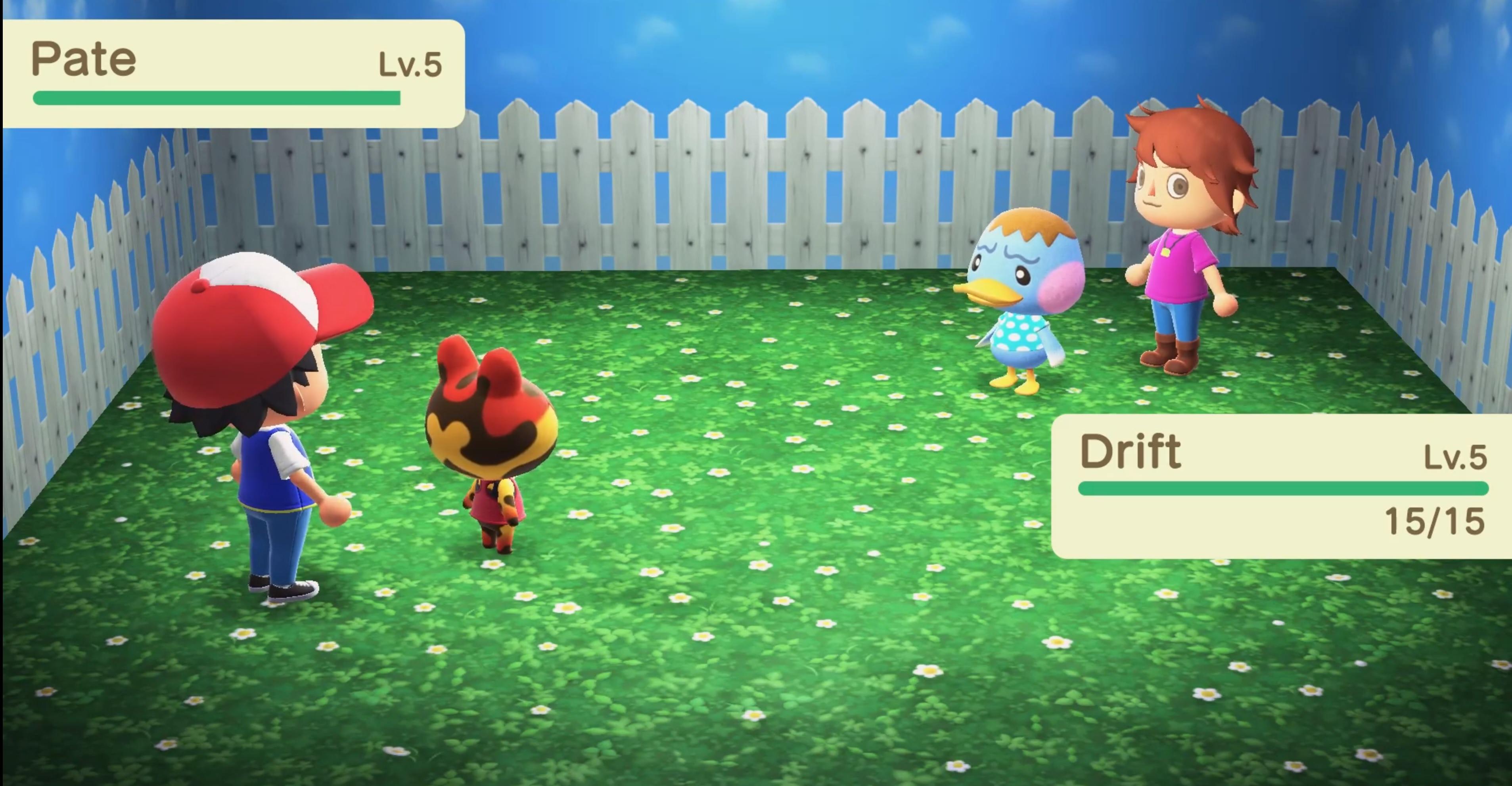 Someone recreated a Pokemon battle in Animal Crossing: New Horizons screenshot