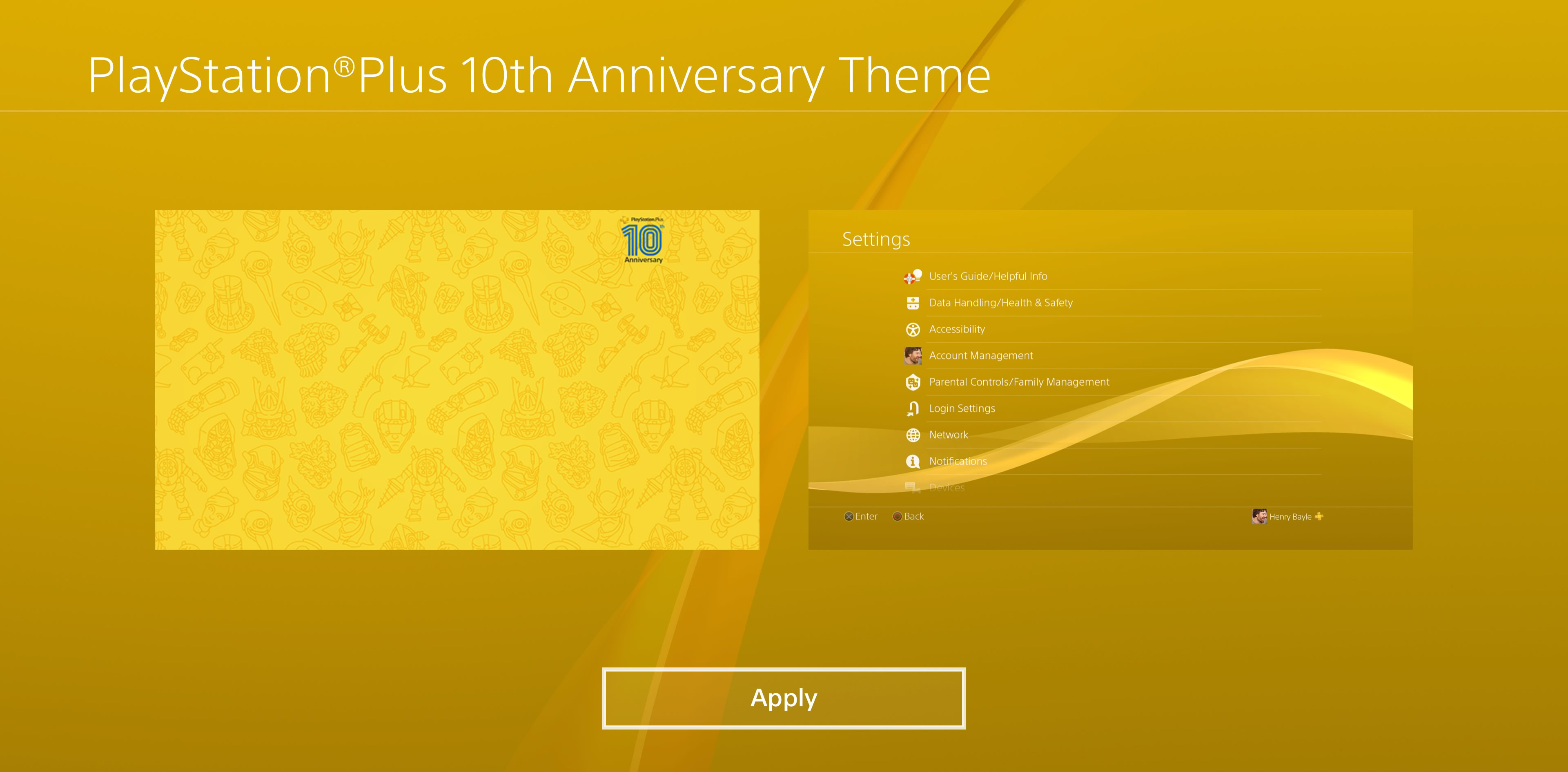 There's a free PS4 theme for the 10th anniversary of PlayStation Plus screenshot