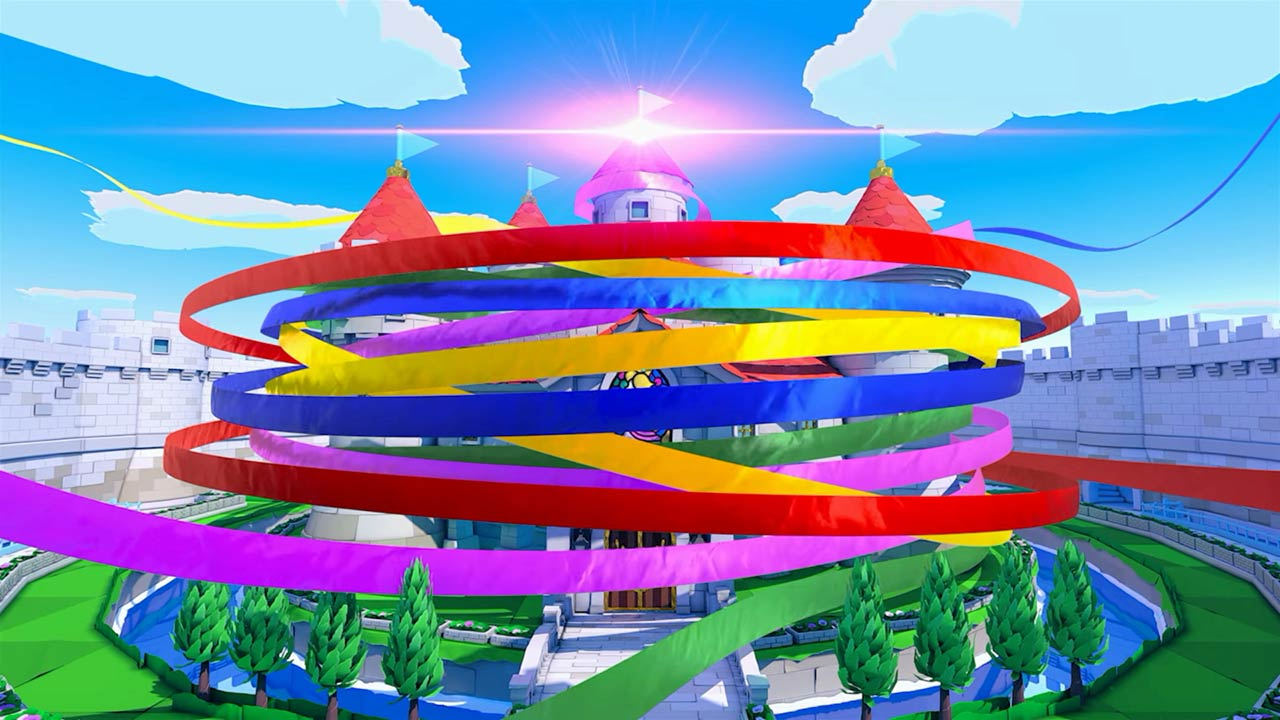 Princess Peach asks some real unnerving questions in Paper Mario: The Origami King's intro screenshot