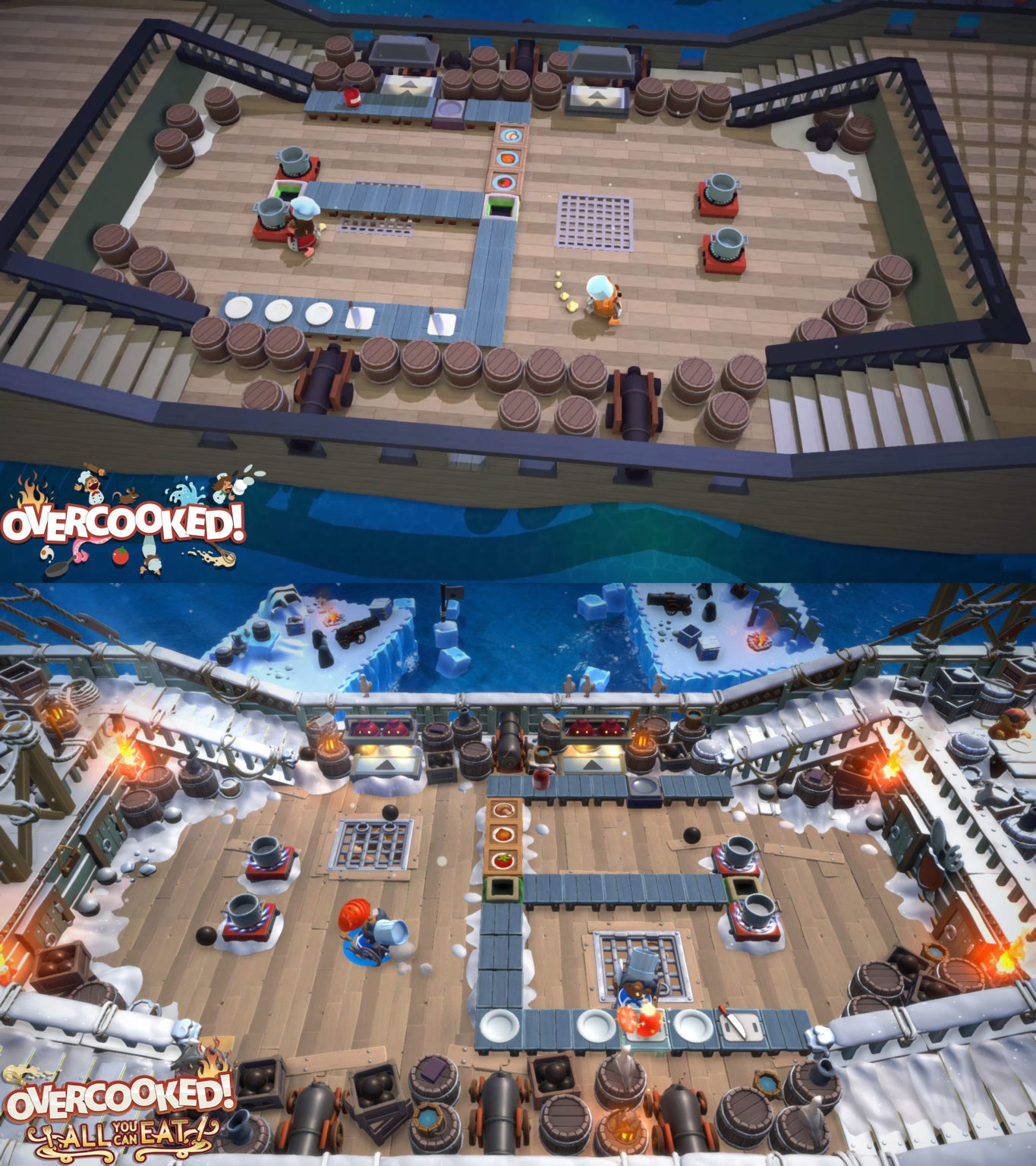In Overcooked: All You Can Eat, the original Overcooked 1 levels were remastered to look and feel like Overcooked 2.