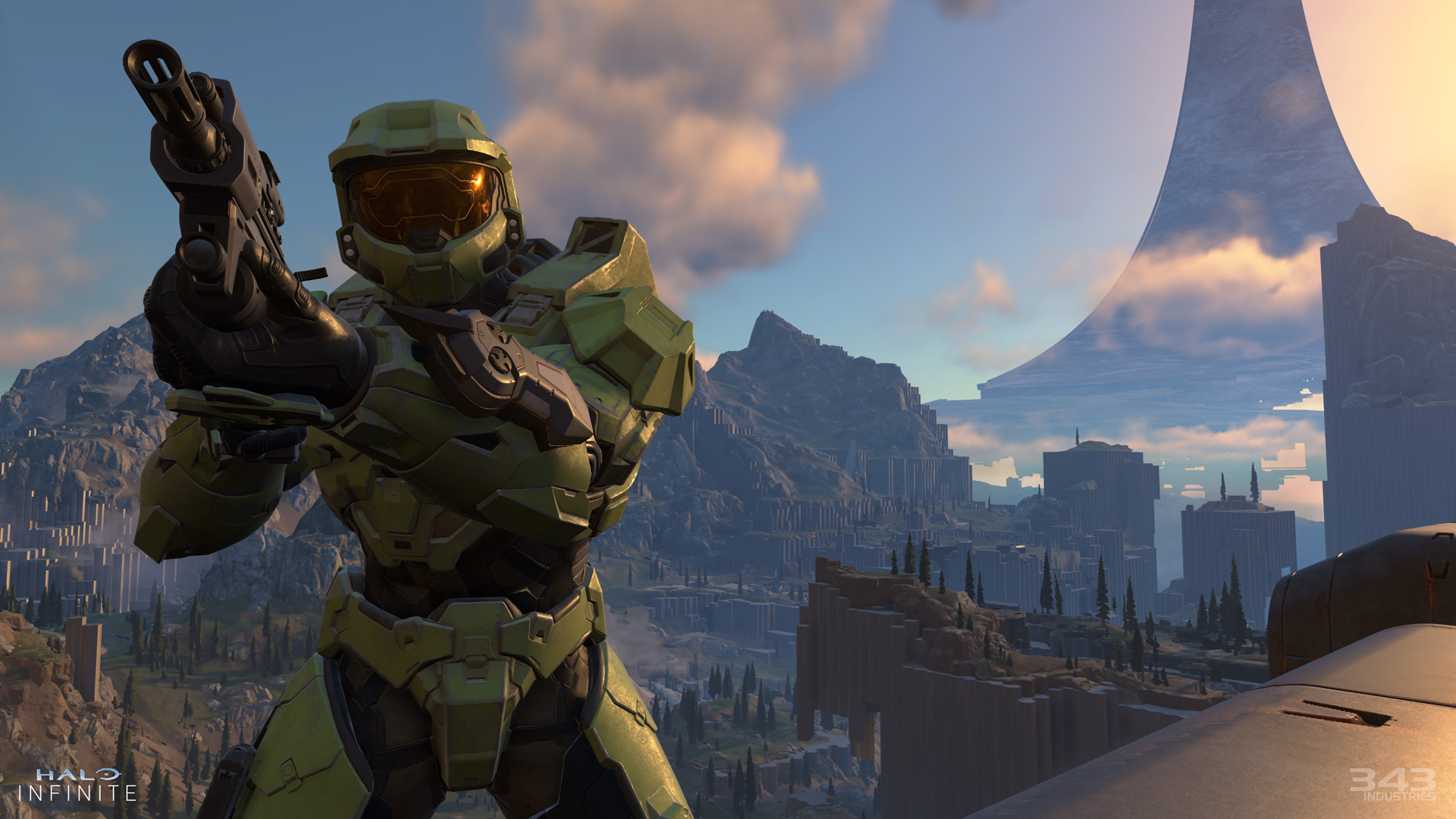 Halo Infinite isn't quite open-world but you can backtrack through it screenshot