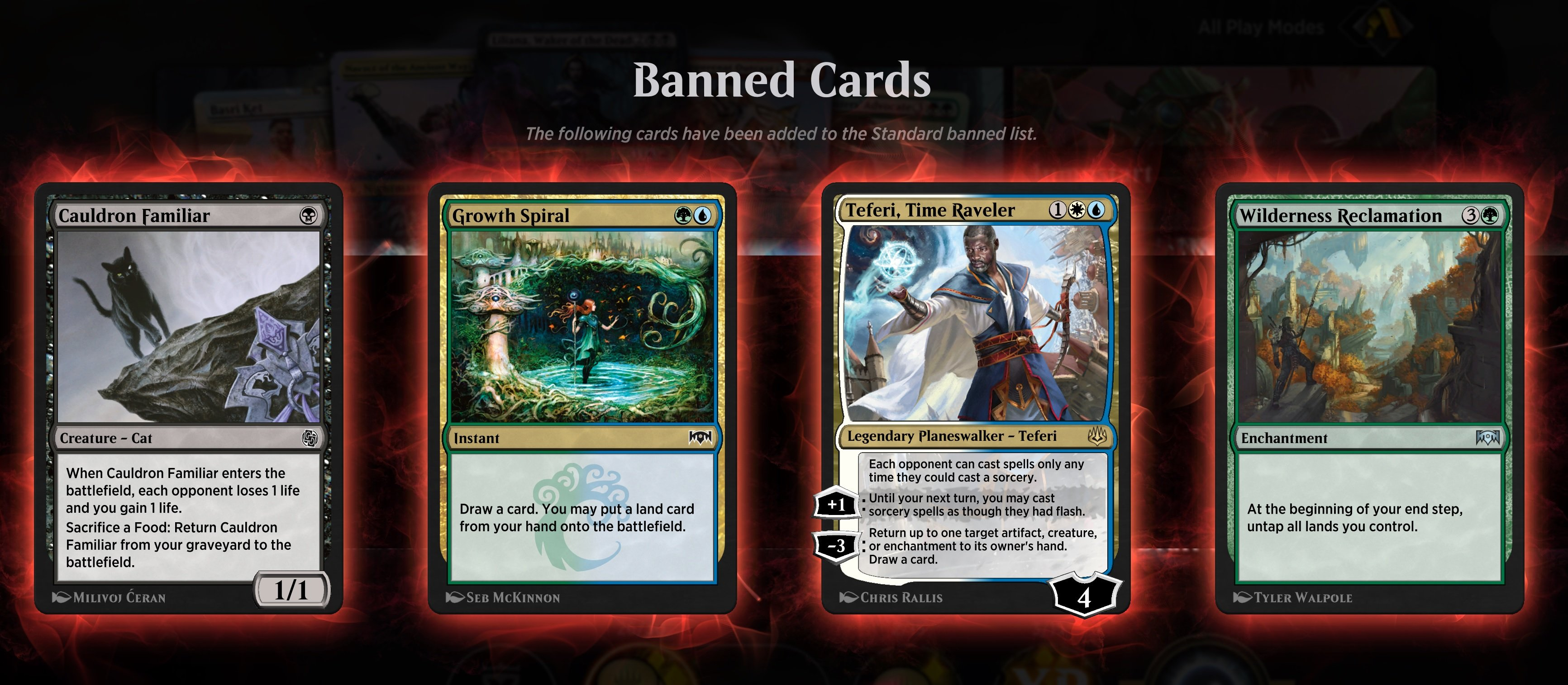 Magic: Arena just banned some very popular standard cards screenshot