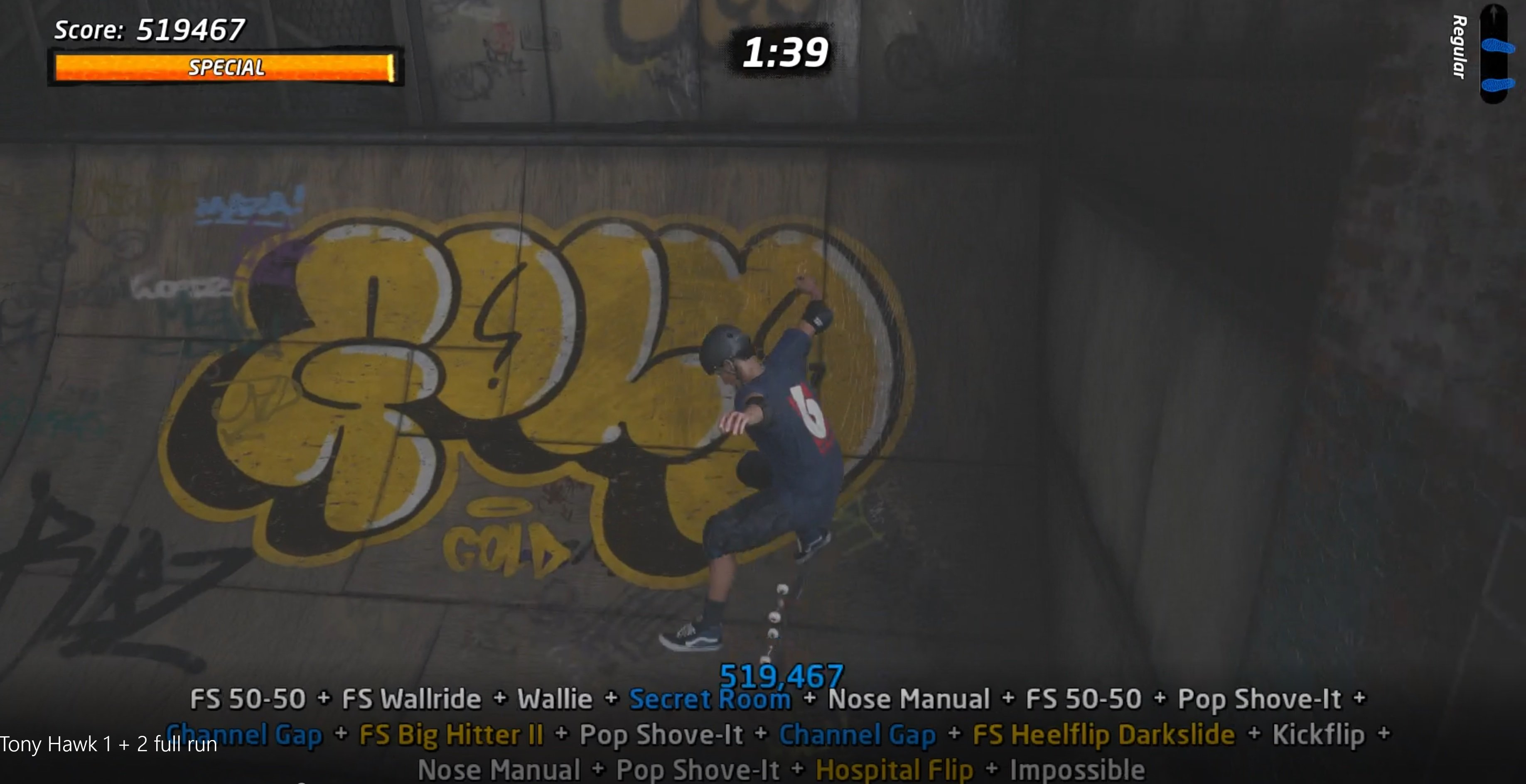 Finally, we can show you footage of a full Tony Hawk's Pro Skater 1 + 2 run screenshot