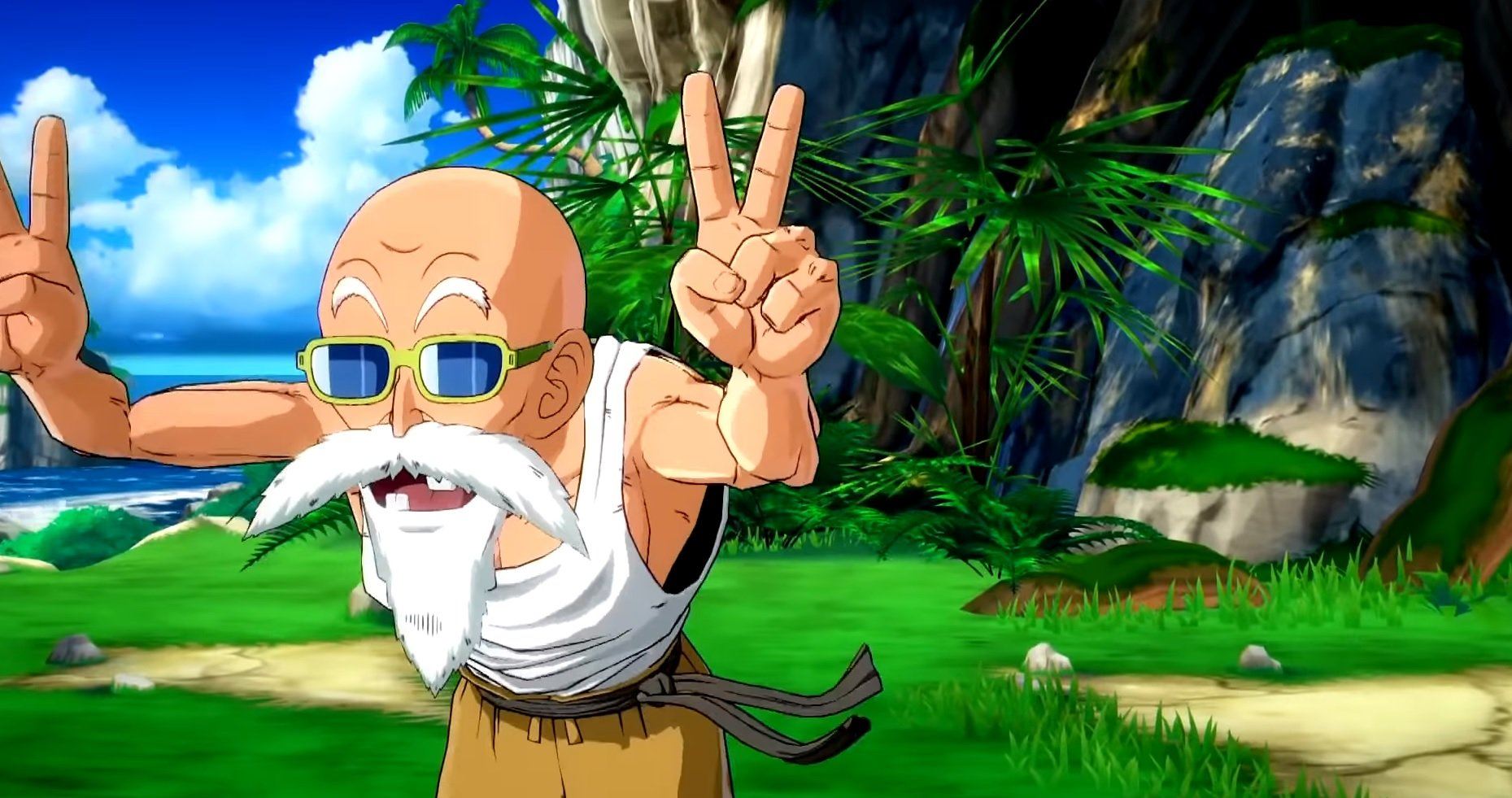 Here's a more detailed look at Dragon Ball FighterZ's Master Roshi DLC screenshot