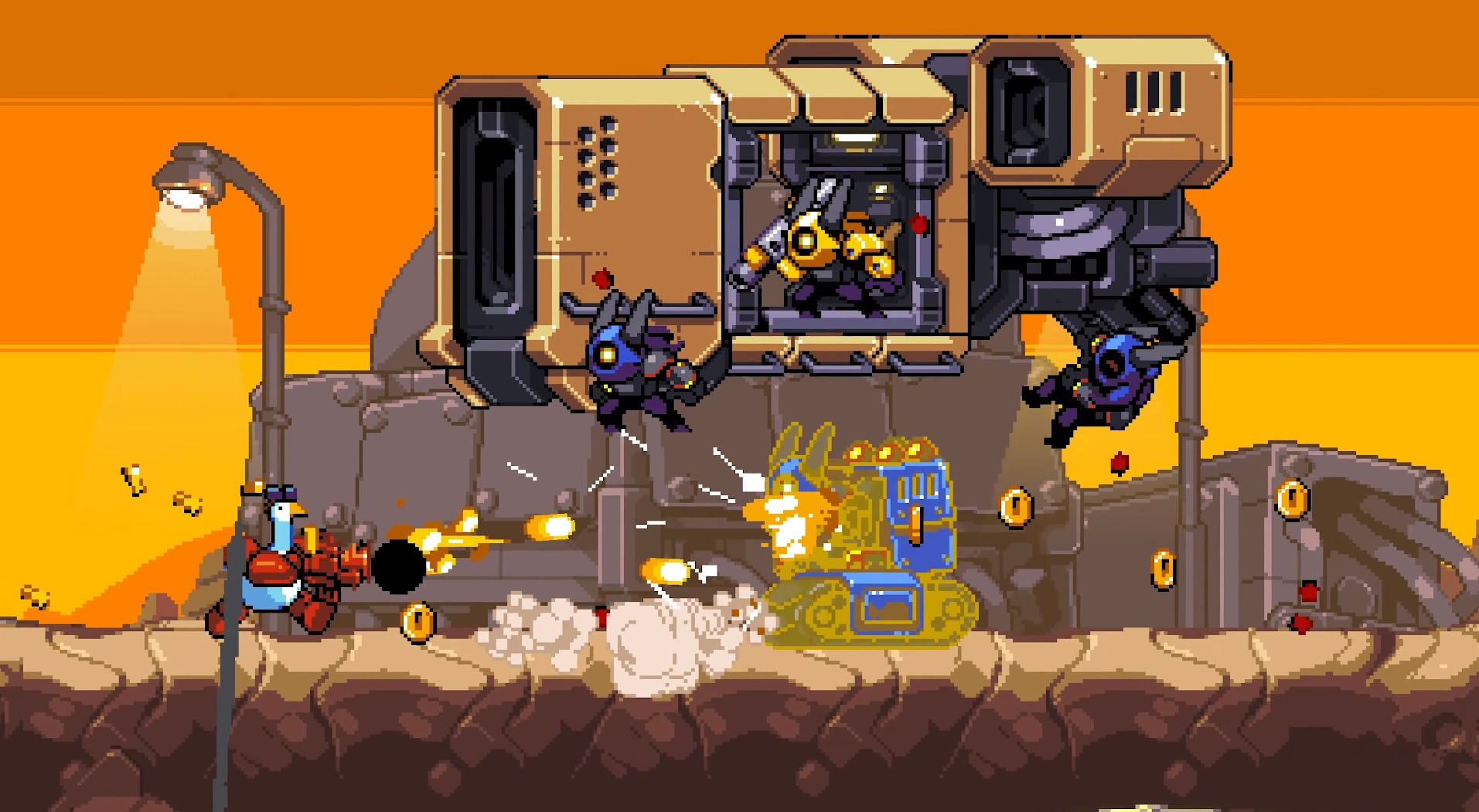 Mighty Goose looks like Metal Slug with a robotic muscular goose screenshot