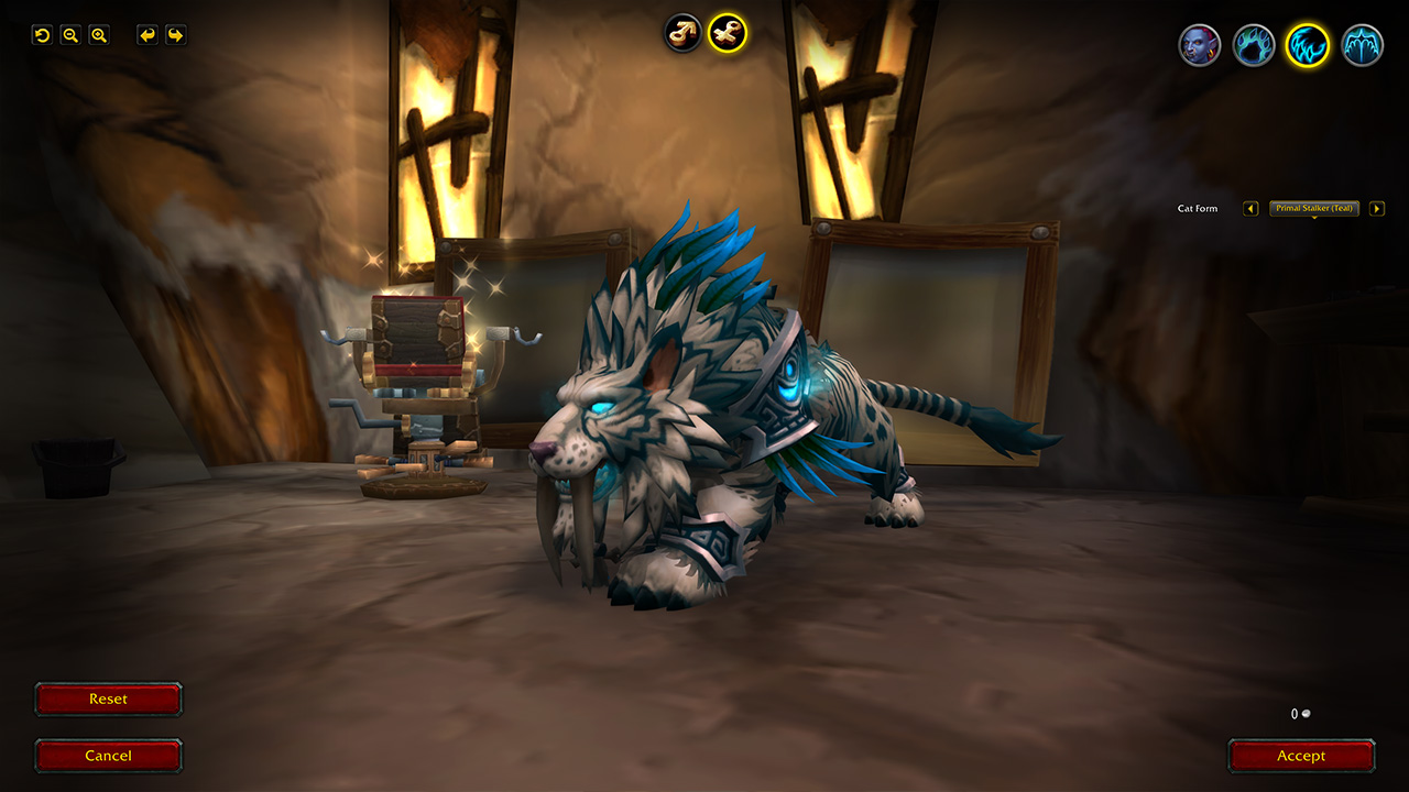 World of Warcraft will allow Druids to alter their shapeshifting cosmetics for free at the new barber screenshot