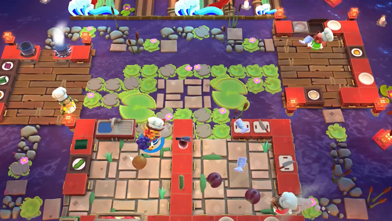 I'm going to die way too much in Overcooked 2's free Moon Harvest levels screenshot