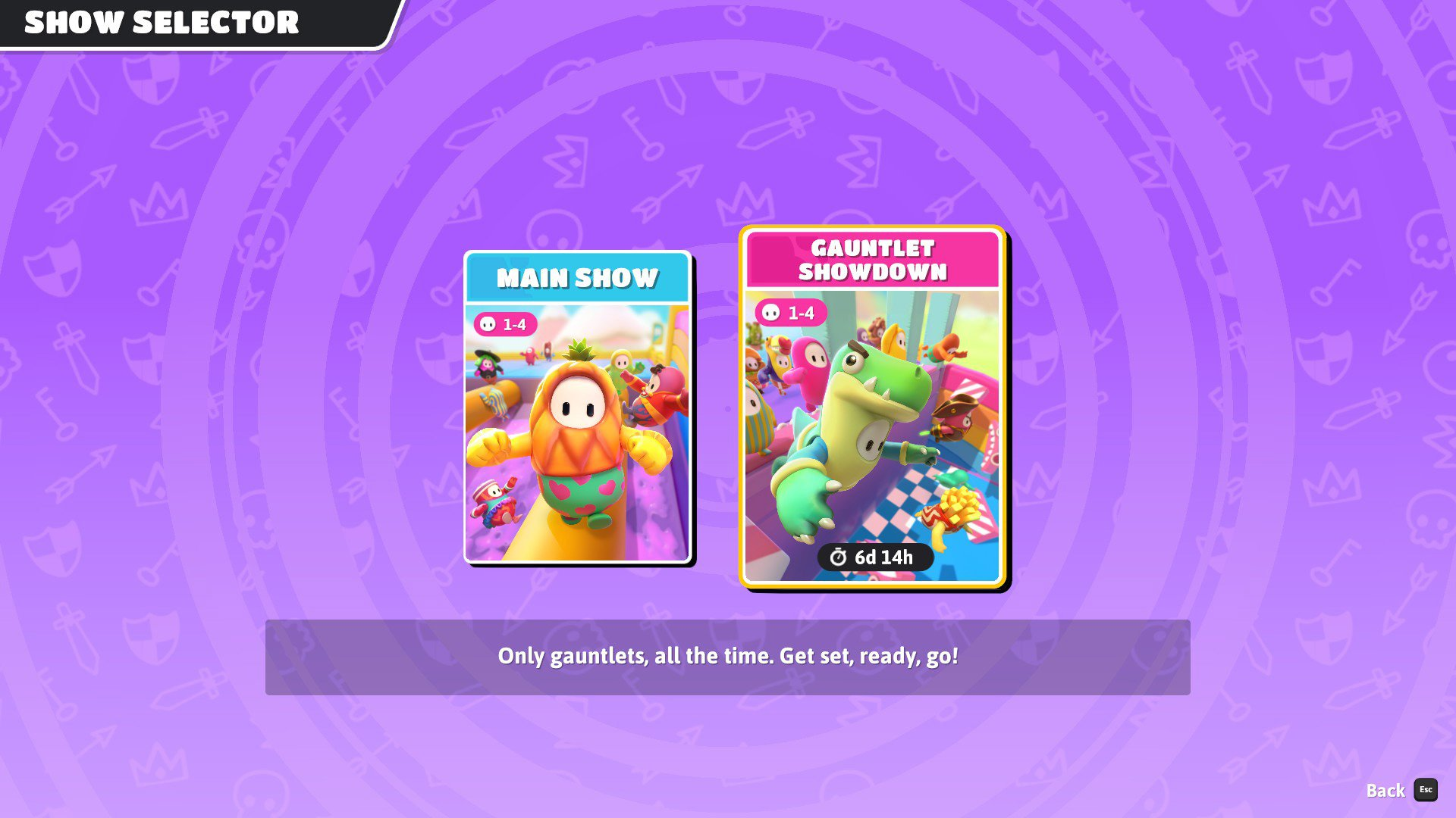 Fall Guys Season 2 has a Show Selector with new playlists