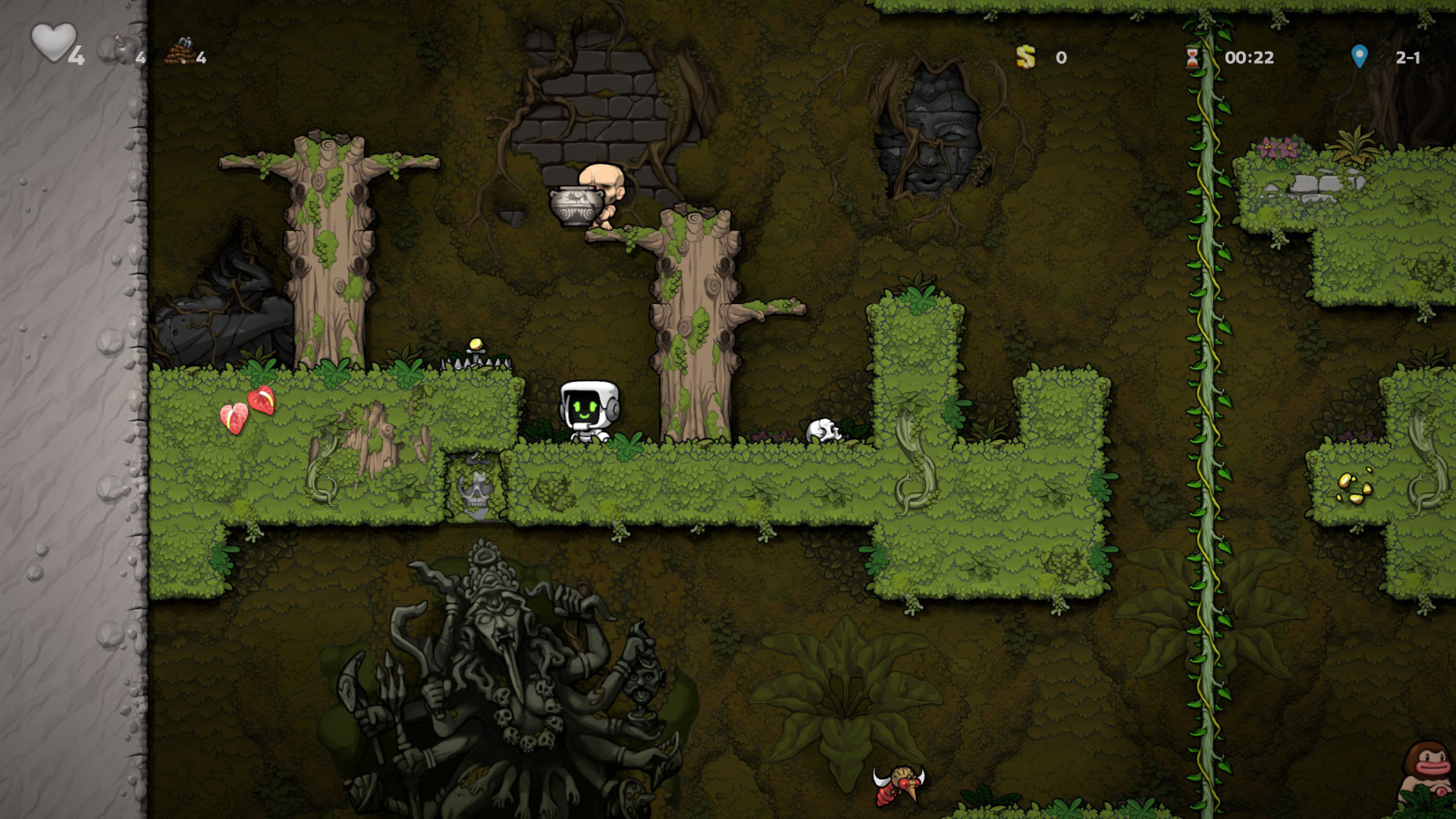 Spelunky 2's Hired Hands will now stop dropping stuff on your head screenshot
