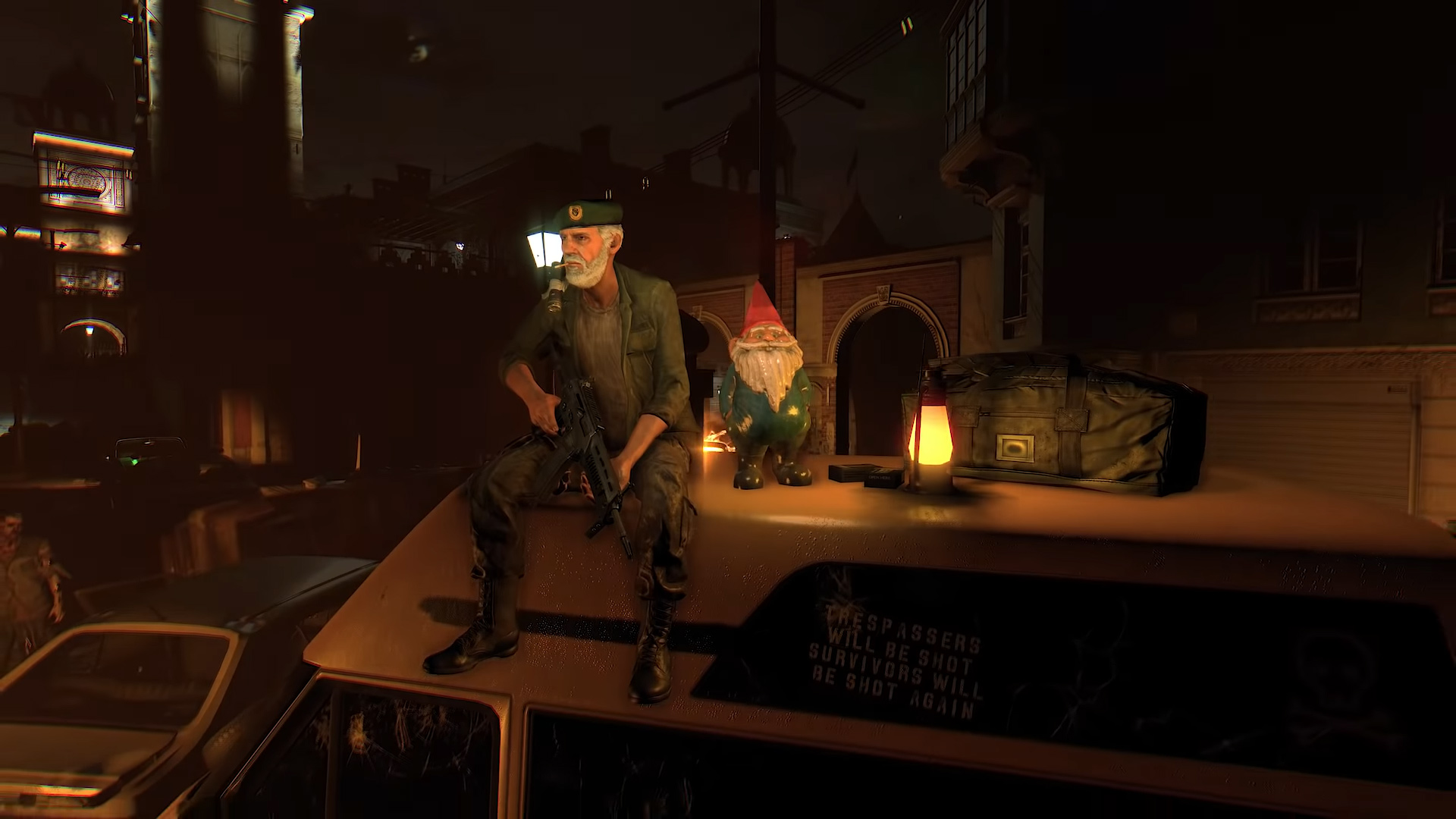 Left 4 Dead's Bill is back for a Dying Light cameo and he brought Gnome Chompski along for the ride screenshot