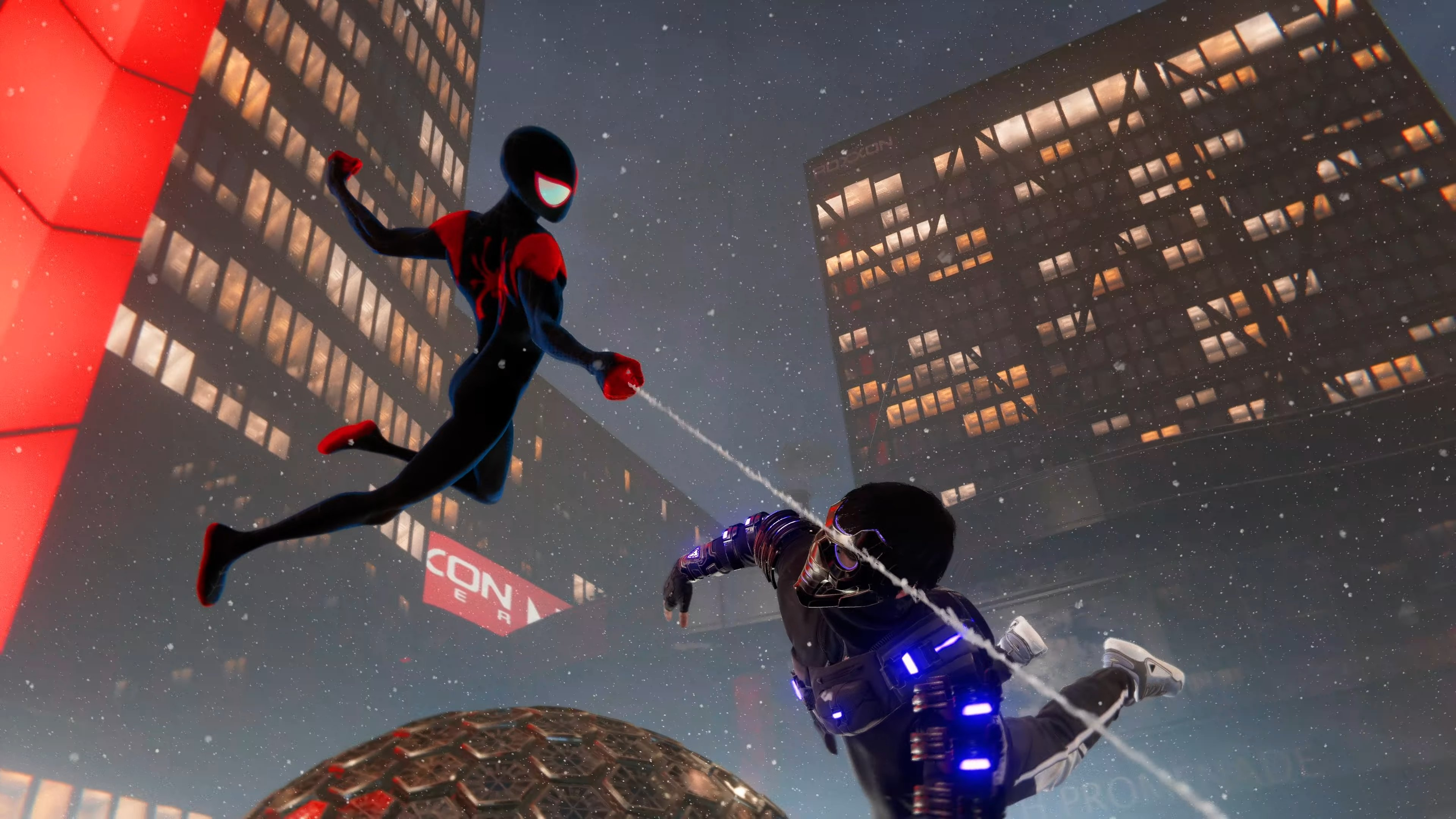 Spider-Man's Into the Spider-Verse suit is animated just like the film screenshot