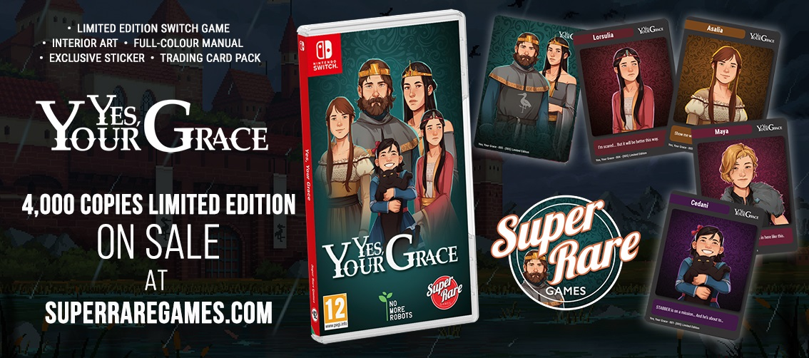 Yes Your Grace contest win Switch Super Rare Games sim