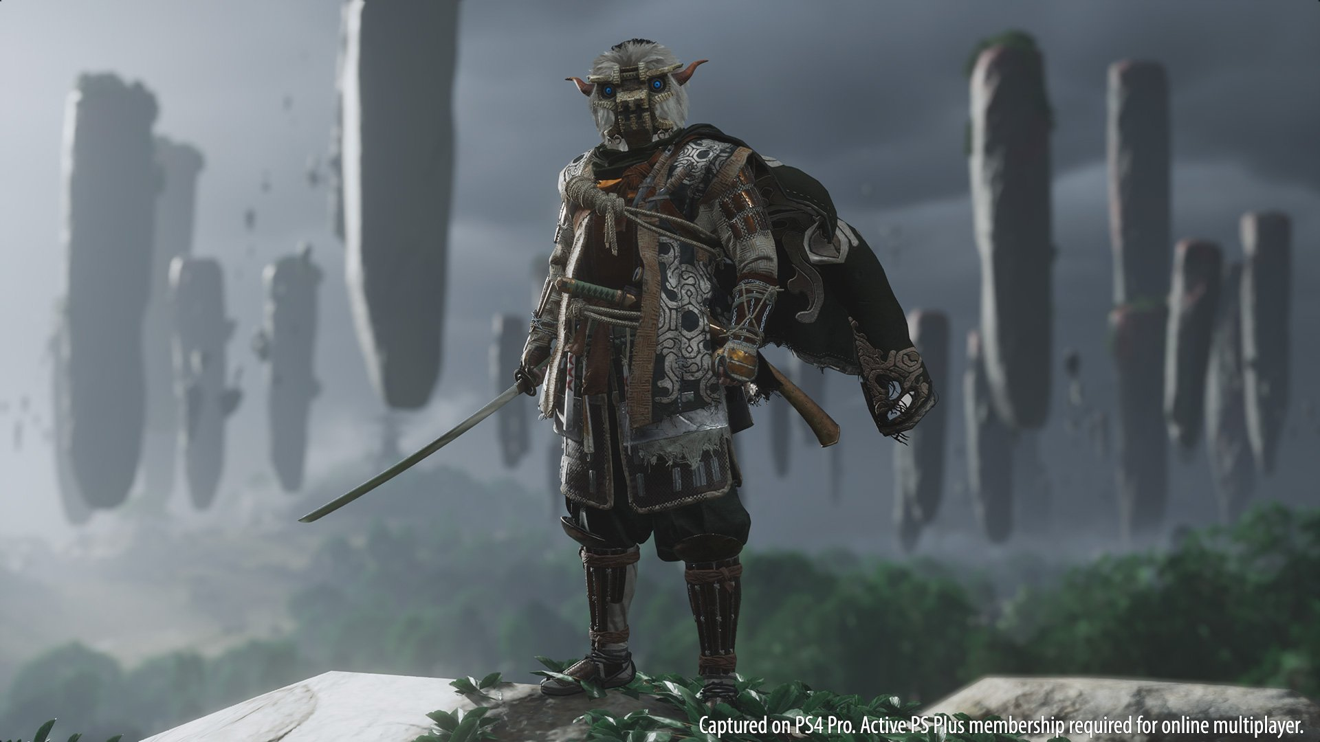 You can't miss the Bloodborne and Shadow of the Colossus special outfits in Ghost of Tsushima screenshot