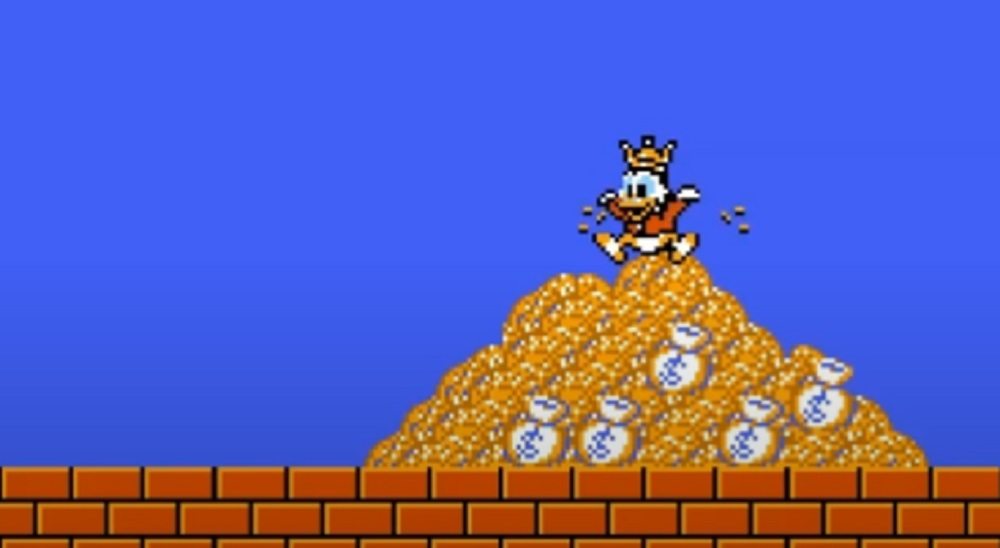 DuckTales NES originally had an out-of-character ending where Scrooge gave up his fortune screenshot