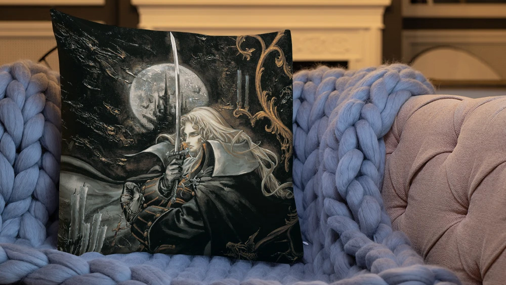 There's a pillow with Alucard from Castlevania: Symphony of the Night and I really shouldn't screenshot