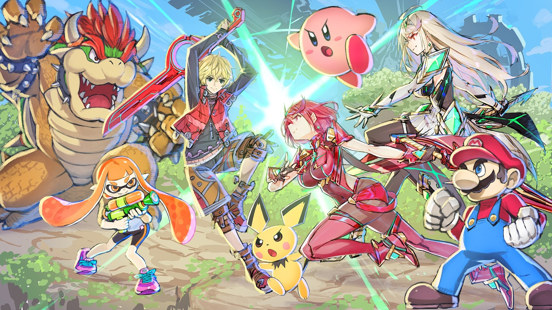 Here's art for the new Pyra and Mythra Smash Ultimate DLC from the Xenoblade 2 character designer screenshot