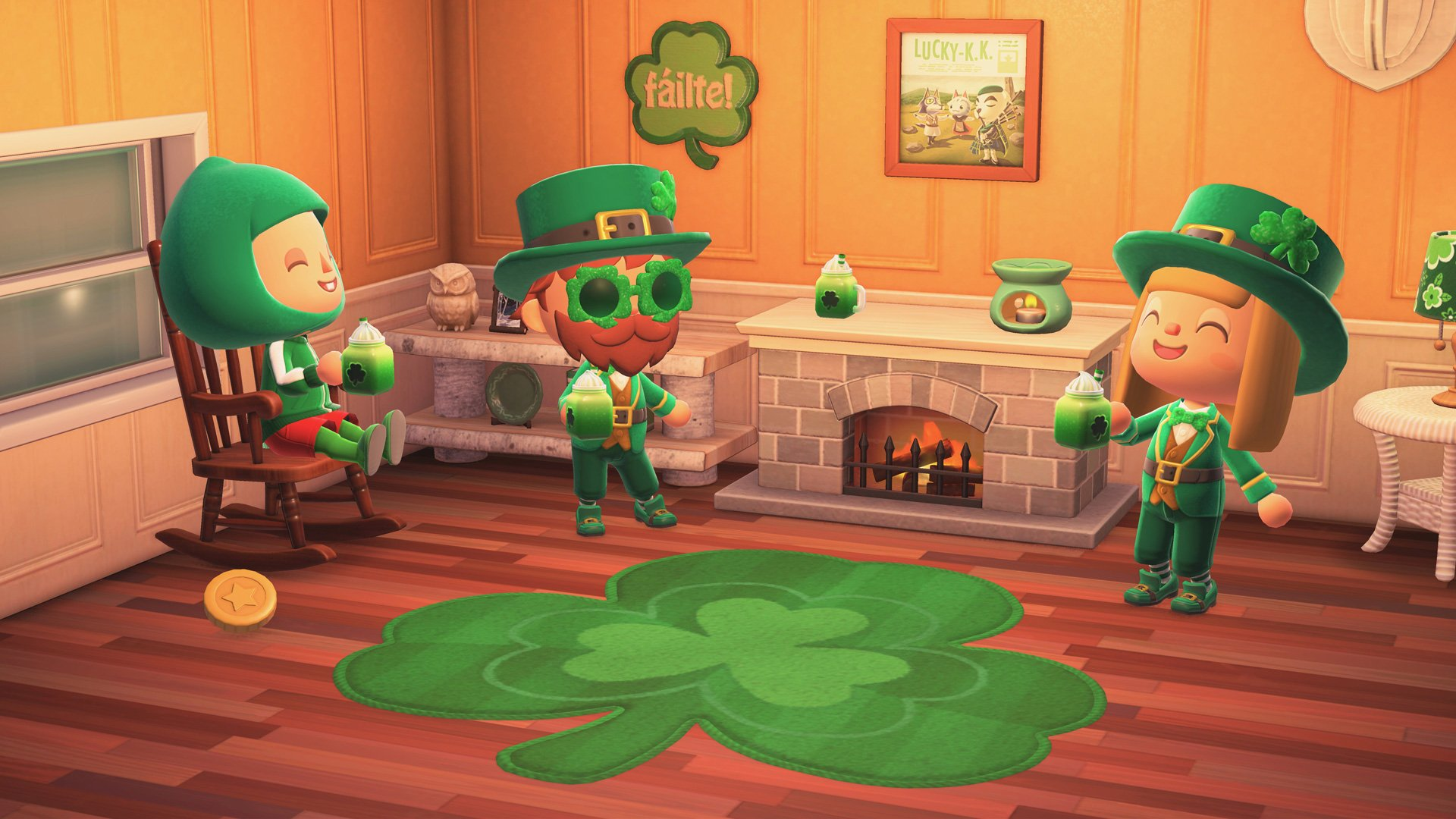 I hope I don't miss the Shamrock Soda in Animal Crossing: New Horizons before it goes away screenshot
