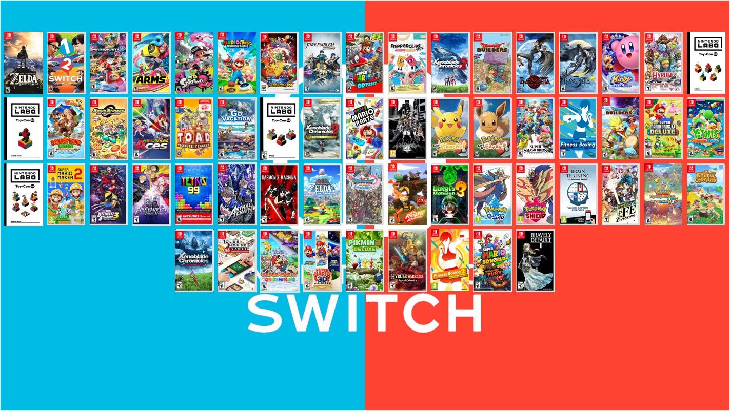 Whoa, seeing all of the Nintendo-published physical Switch games in one image is neat screenshot