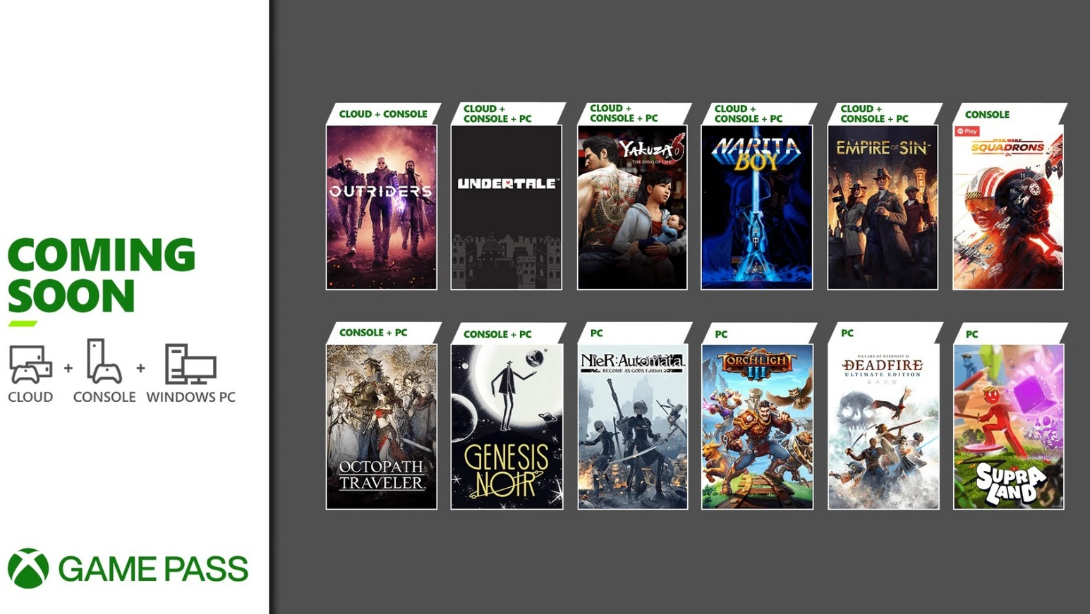 Xbox Game Pass March headliners include Nier: Automata on PC, Octopath Traveler on Xbox, and Empire of Sin screenshot