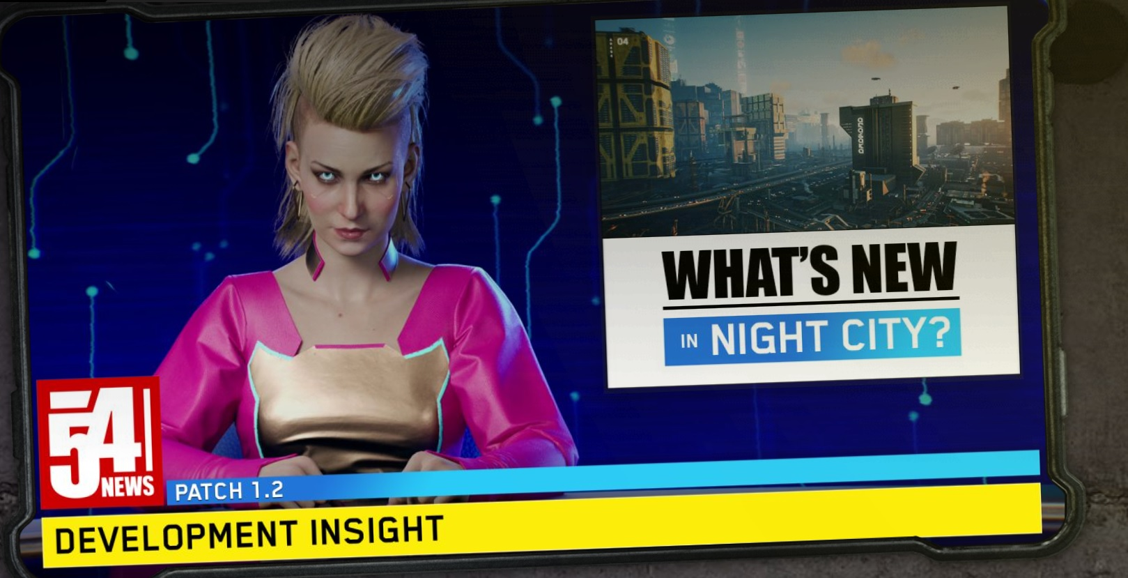 The new Cyberpunk patch notes are thematically delivered by a Night City news station, so you can read about all the bugs in style screenshot