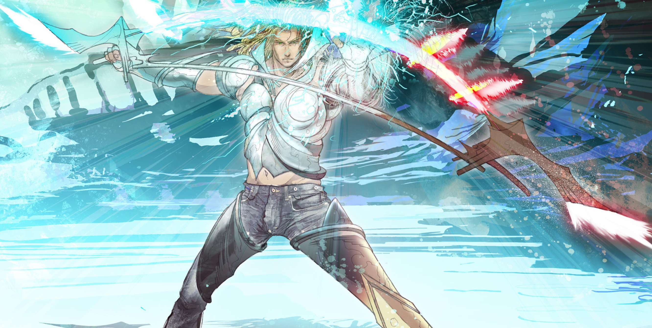 El Shaddai: Ascension of the Metatron director isn't bringing back the bizarre jean promotion, but he is considering a vinyl release screenshot