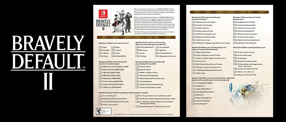 Nintendo just put out a cute little Bravely Default 'personality quiz' on My Nintendo screenshot