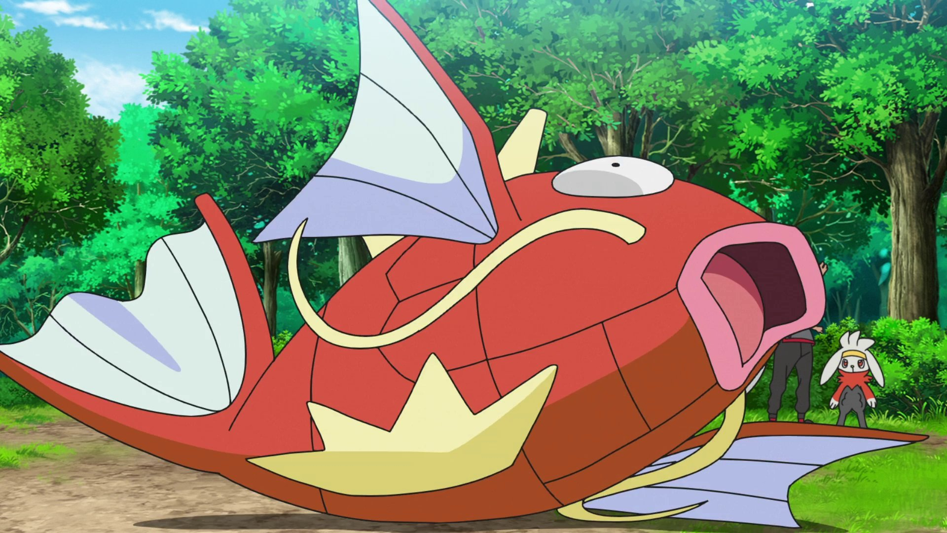 Pokemon Sword and Shield put in an impossible to catch Magikarp for April Fools' screenshot