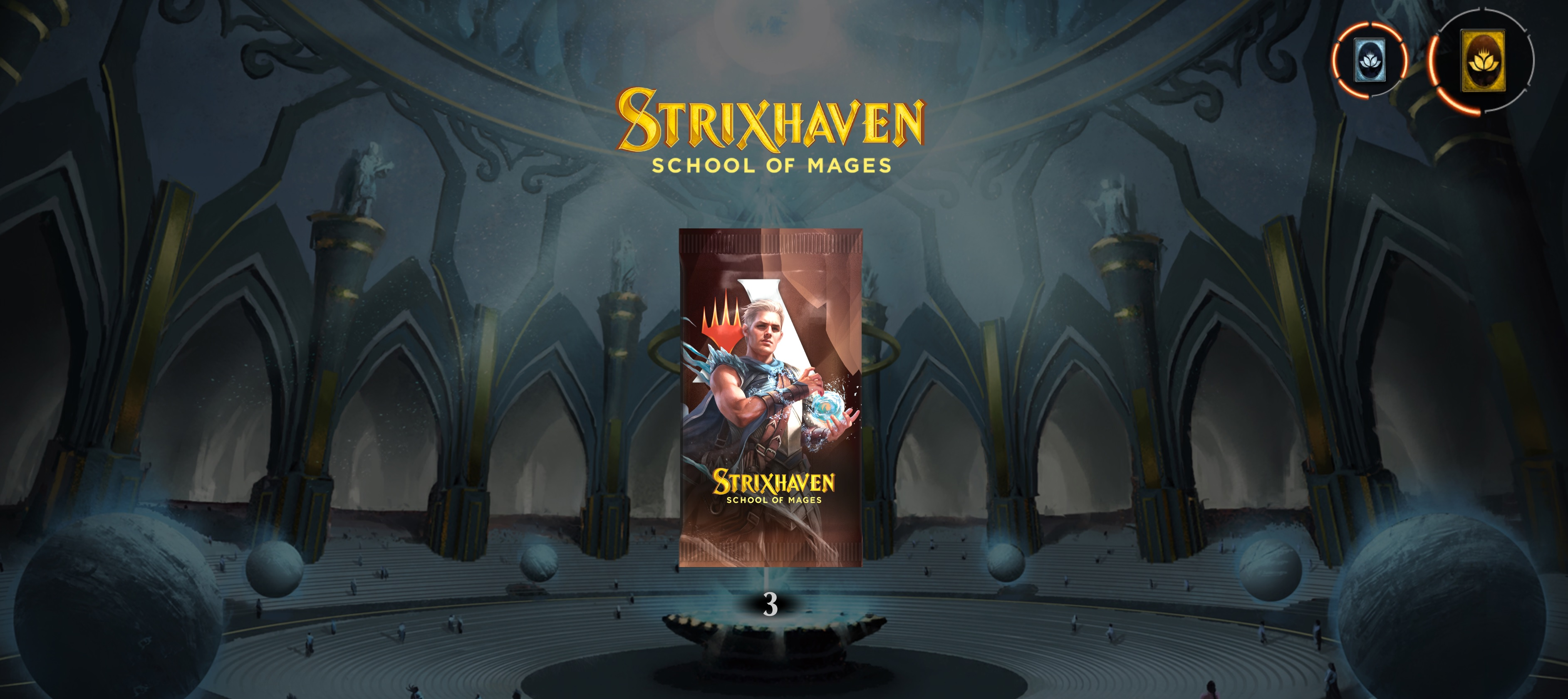 The new Strixhaven set is out in Magic: Arena, and you can get three free packs now screenshot