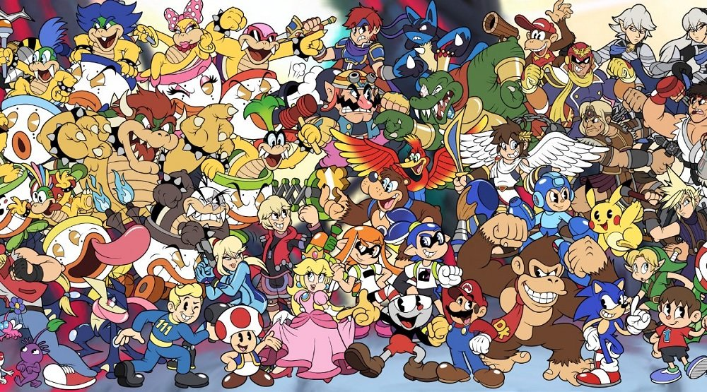 Stunning art shows the Super Smash Bros. Ultimate roster recreated in classic 'Cuphead' style screenshot