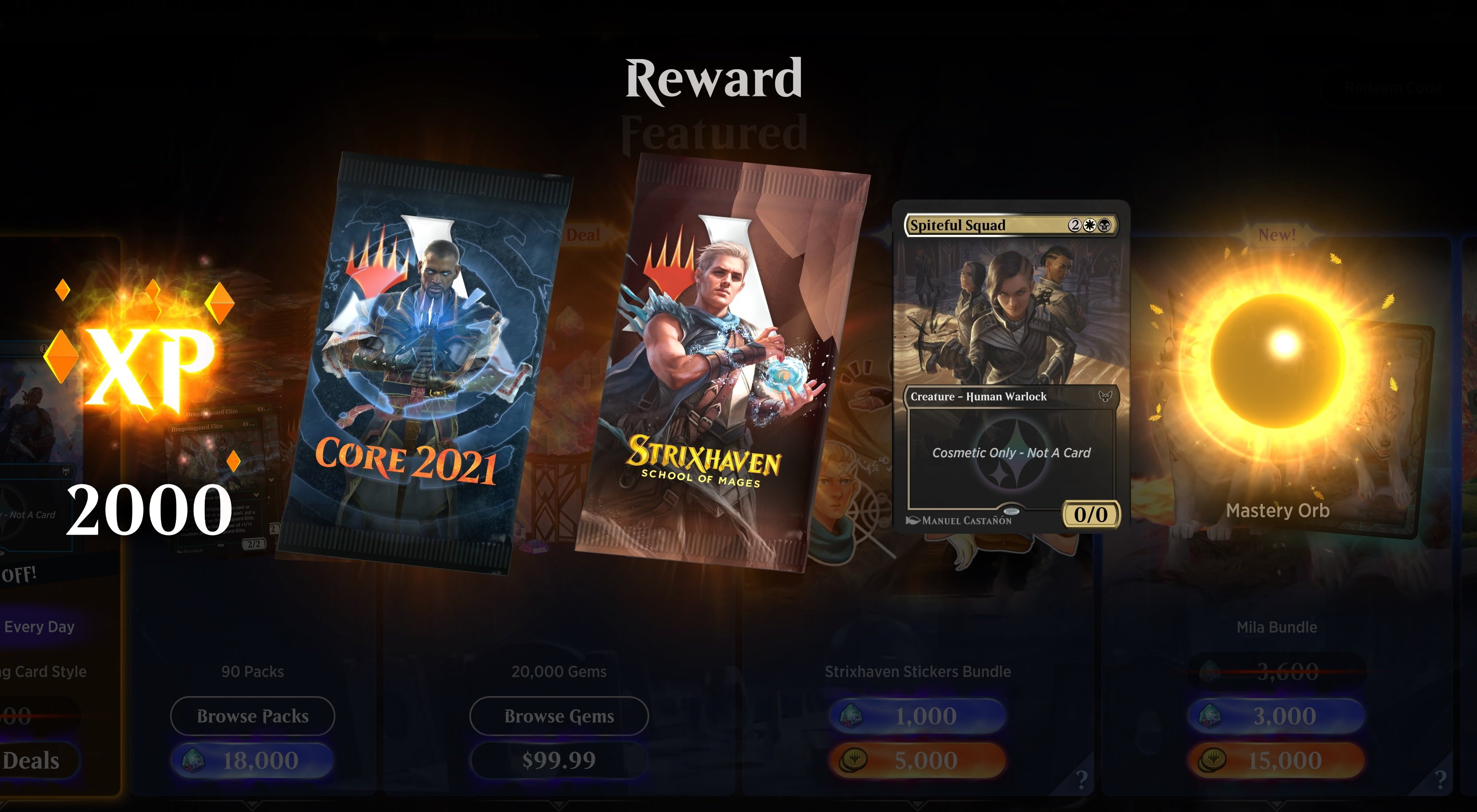 Magic: Arena has a code for free levels as an apology for recent bugs screenshot