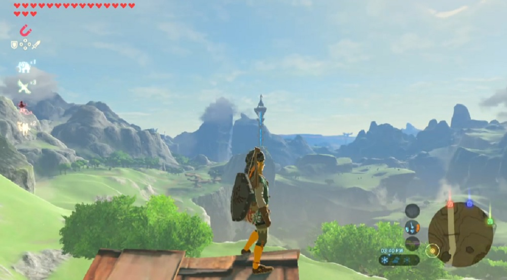 Did you know you could see all four Divine Beasts from the top of Link's Zelda: Breath of the Wild house? I didn't! screenshot