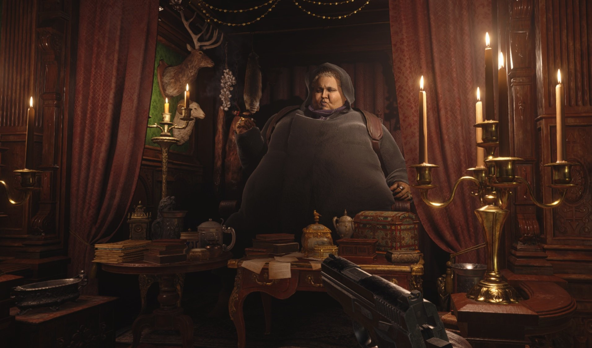 Resident Evil Village's Duke and RE4's Merchant are friends, so they may as well match! screenshot