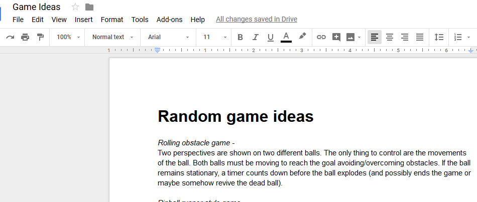 Image of a document showing one of my game ideas