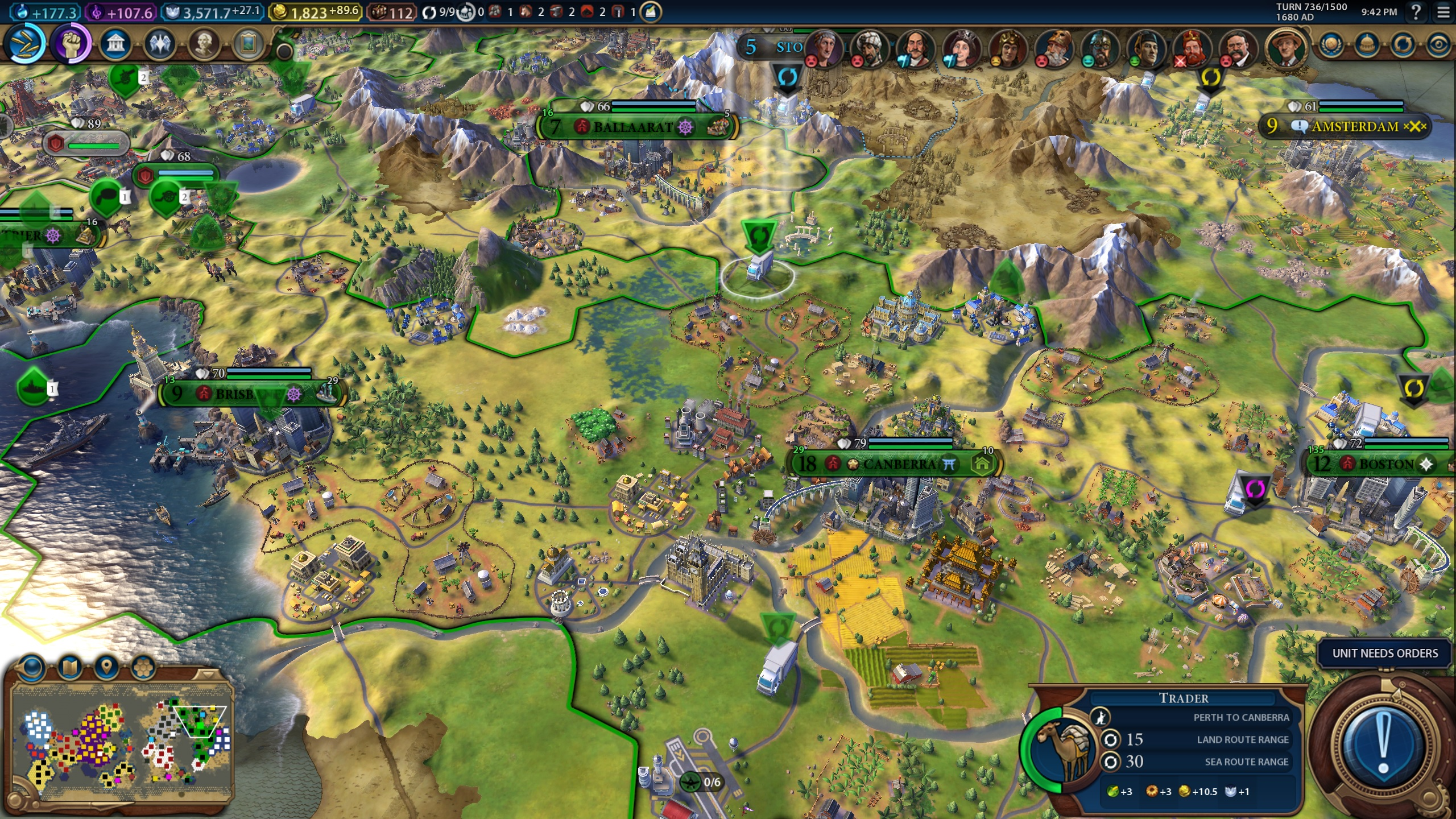 Example of roads in Civ 6