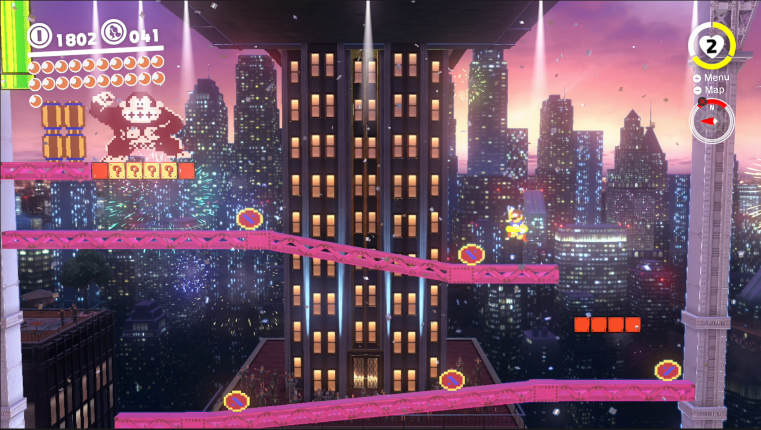 A screenshot of the 2D level resembling the Donkey Kong arcade game in Super Mario Odyssey
