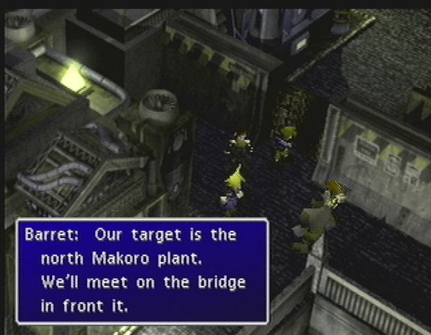 The heroes of Final Fantasy 7 discuss their plan to blow up a power plant.