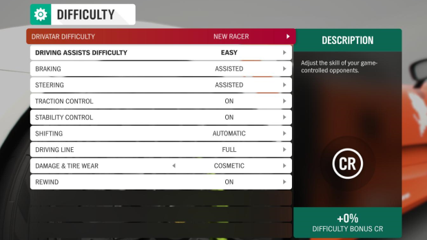 Image caption: Forza Horizon 4's difficulty settings. Difficulty set to new racer, assists difficulty preset on easy, braking set to assisted, steering set to assisted, traction control on, stability control on, gear shifting set to automatic, full driving line visible in-game, damage and tire wear set to cosmetic only, rewind feature enabled.