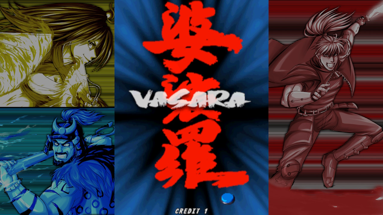 Vasara 1 title screen, with playable characters in the sidebars