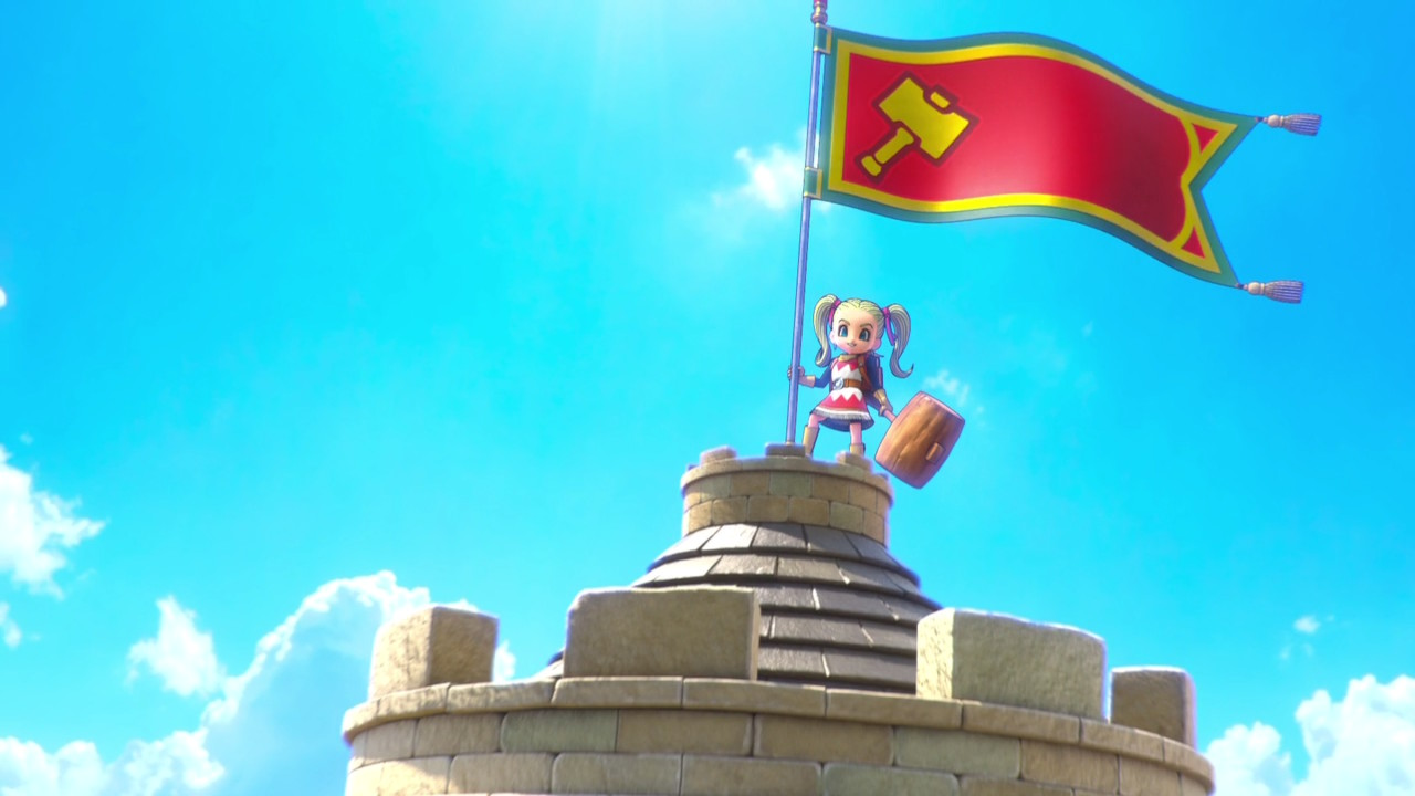 A character standing on the top of a castle along with the flag.