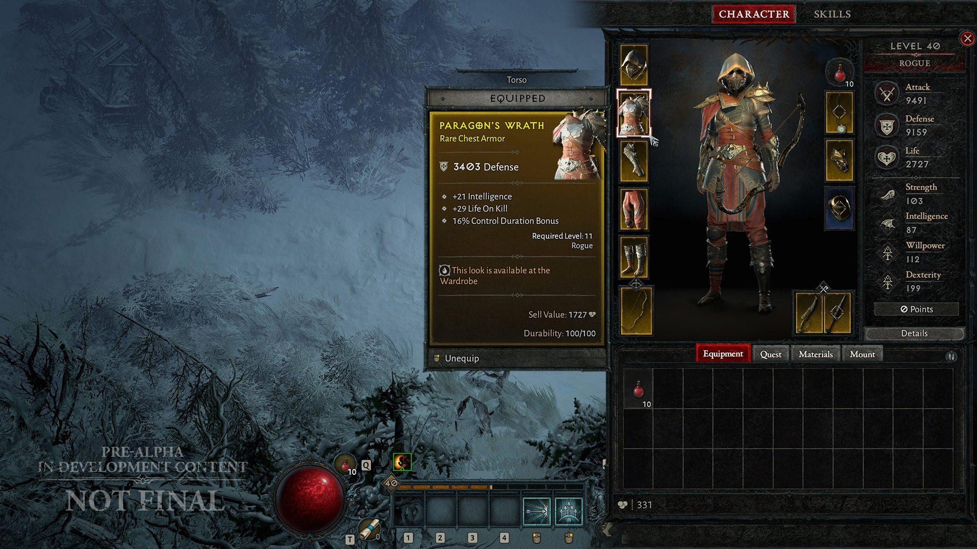 Diablo IV Rogue inventory