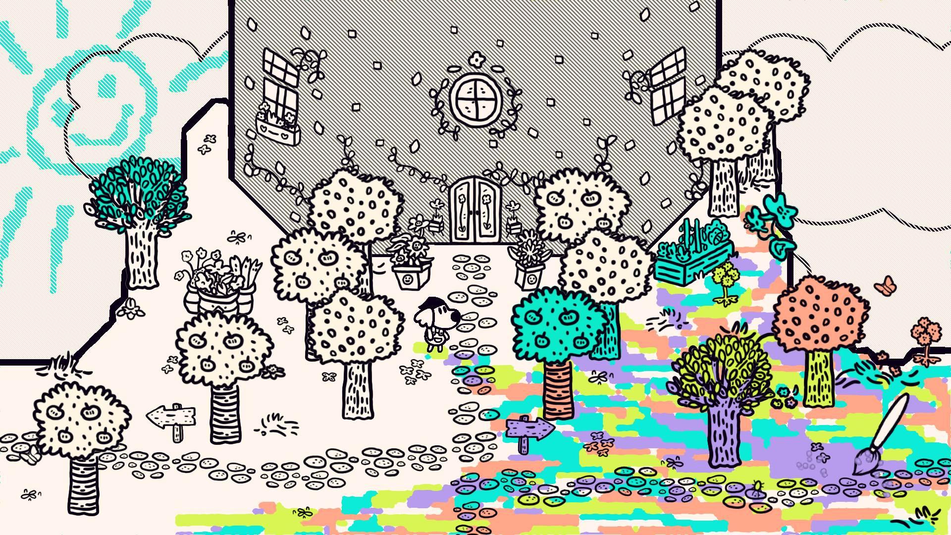 A half-colored scene in Chicory.