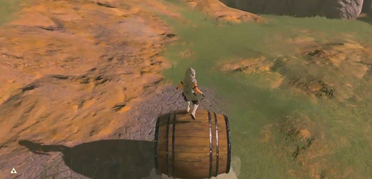 Barrel riding in Zelda: Breath of the Wild
