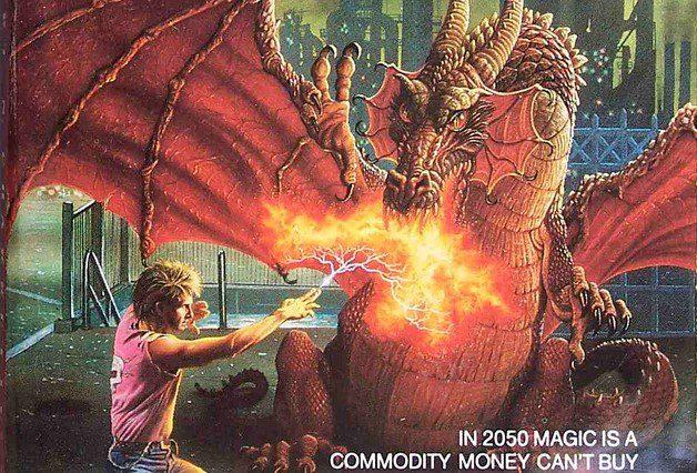 Shadowrun Genesis guy with '80s hair fighting a dragon