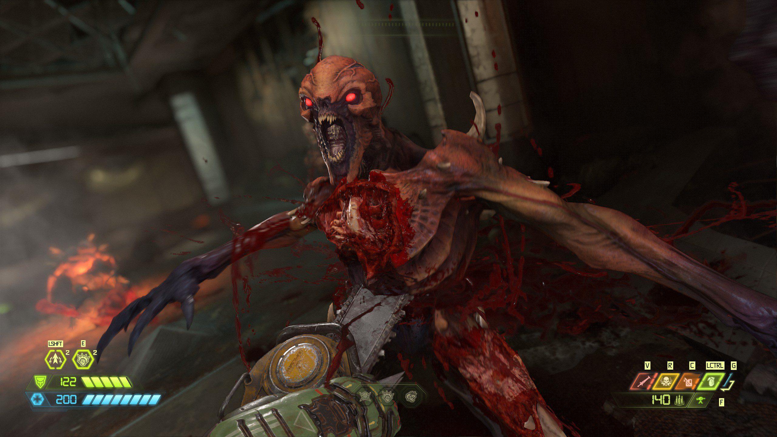 Doom Eternal Imp getting Chainsawed
