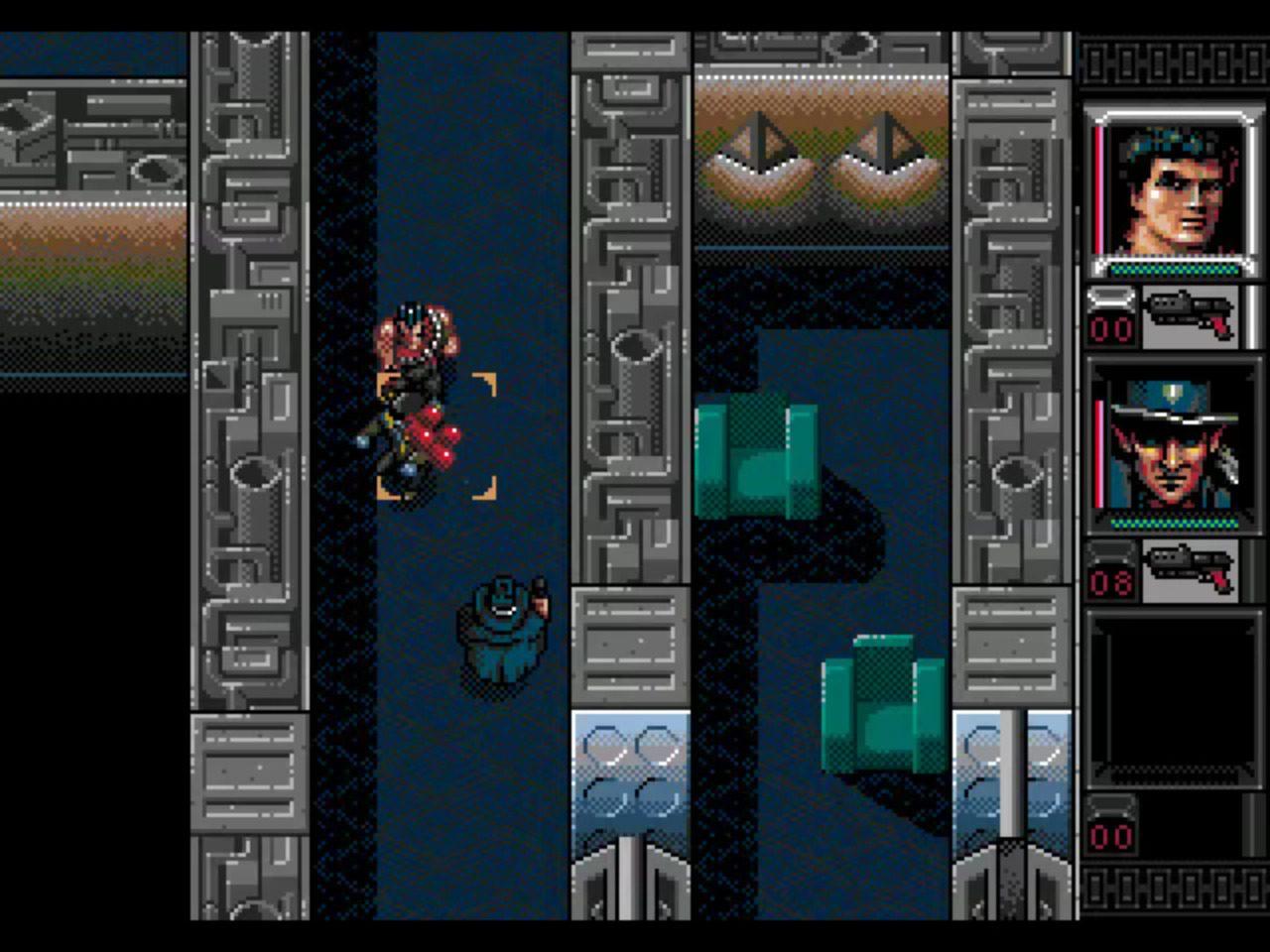 Two guys fighting a guard in Shadowrun Genesis