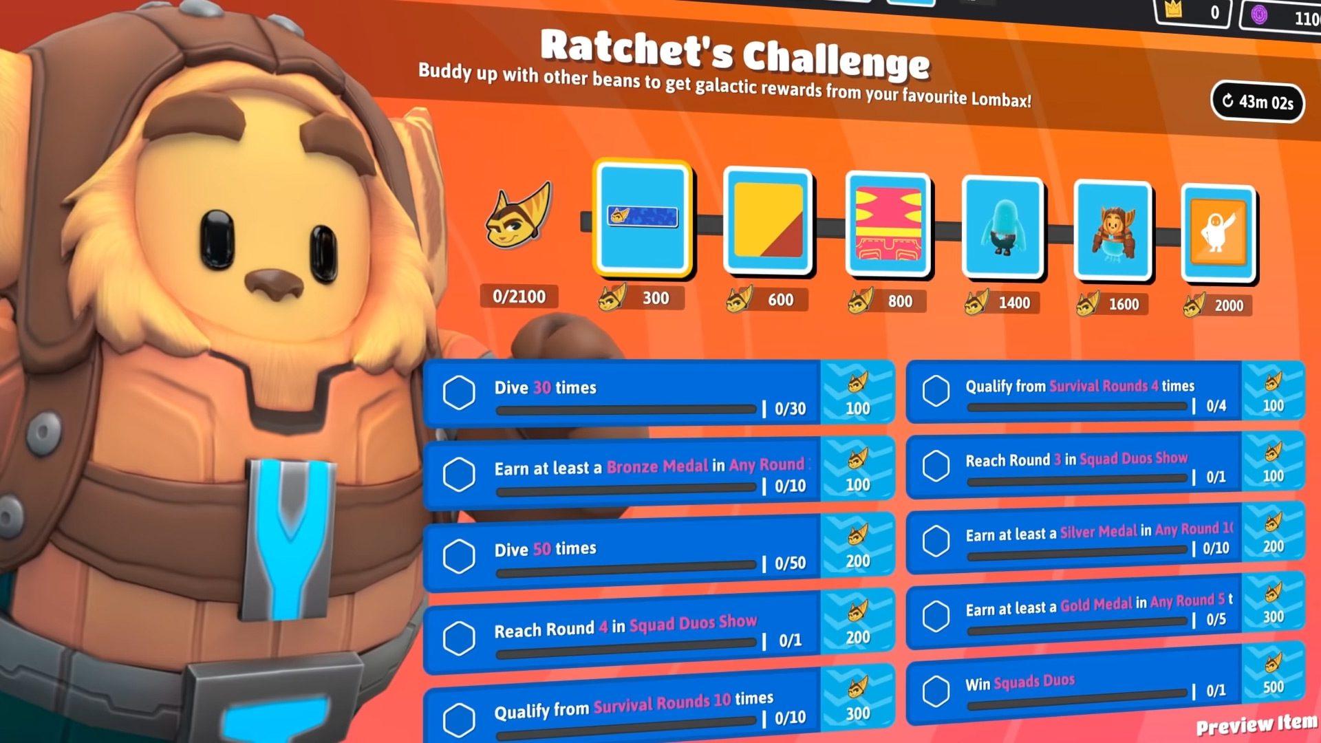 Ratchet's Challenge goals in Fall Guys Season 5