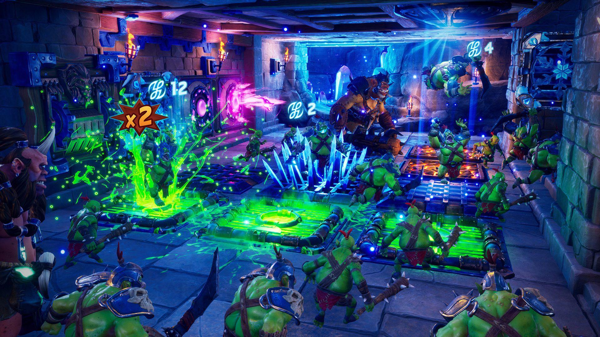A multitude of traps working in tandem in Orcs Must Die 3